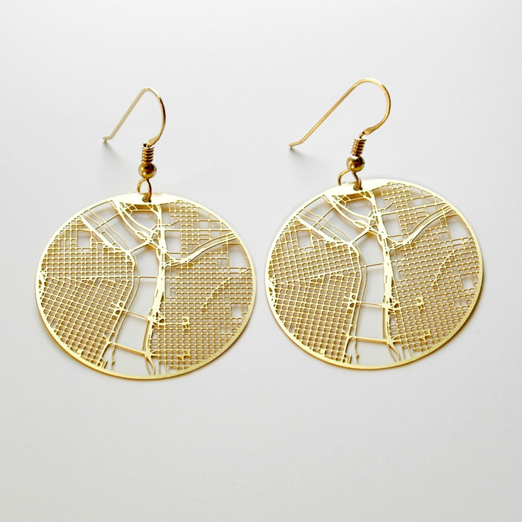 Urban grid earrings by Aminimal. The design was made using city maps, these  earrings
