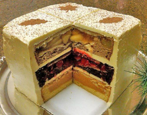 is the desert version of the Turducken. It's a three-layer cake ...
