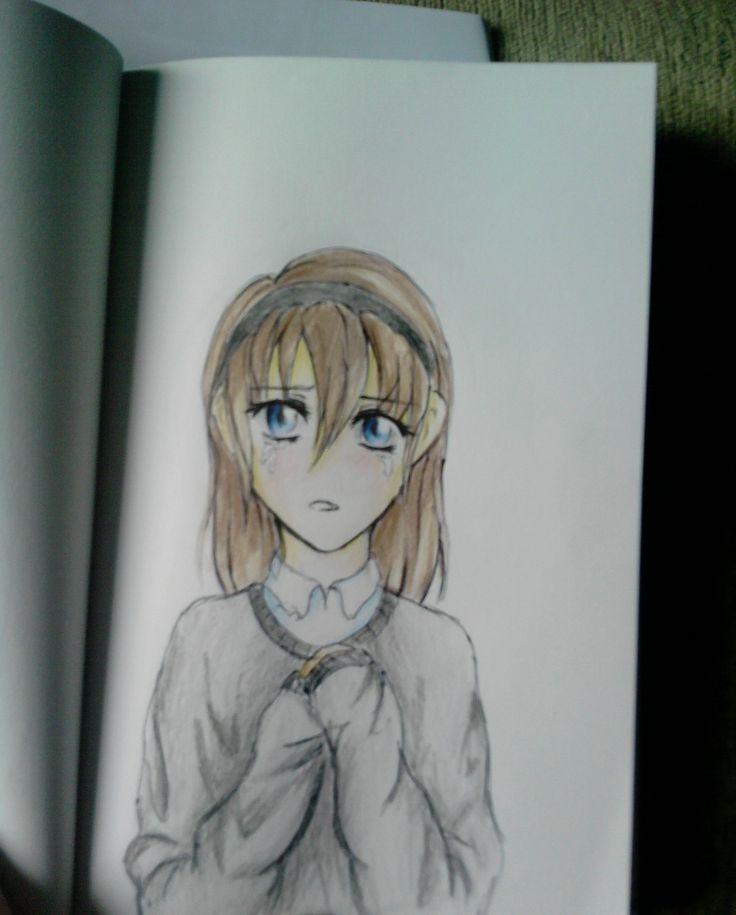 sad #anime girl, colored pencil drawing