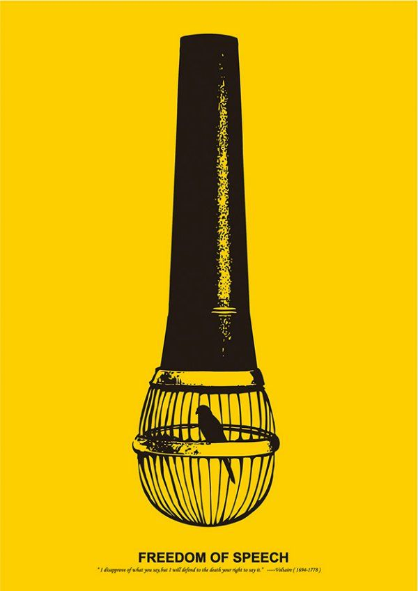 """This poster by Pei-Ling Ou says a lot in a small yellow and black illustration. Freedom of speech is an essential human right, and yet so many people are stripped of it. It's time for us to stand up and defend our right."""
