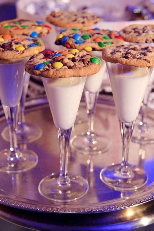 instead of champagne, kids get cookies and milk. cute new years eve idea....or a fancy kid party. Lots of fancy kid stuff.