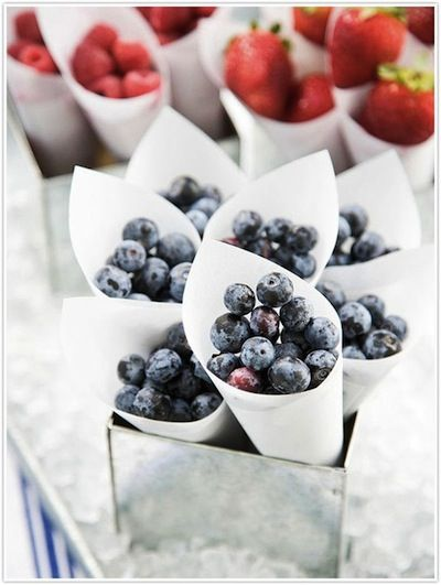 4th of July Party Ideas Fruit Cones would be adorable at a beach baby birthday party or kids party where trying to keep some healthy snacks available