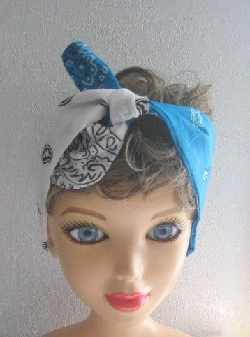 Pin Up Bandana Knotted Bandana Teal and by CrochetnMoreByAlida, $12.00