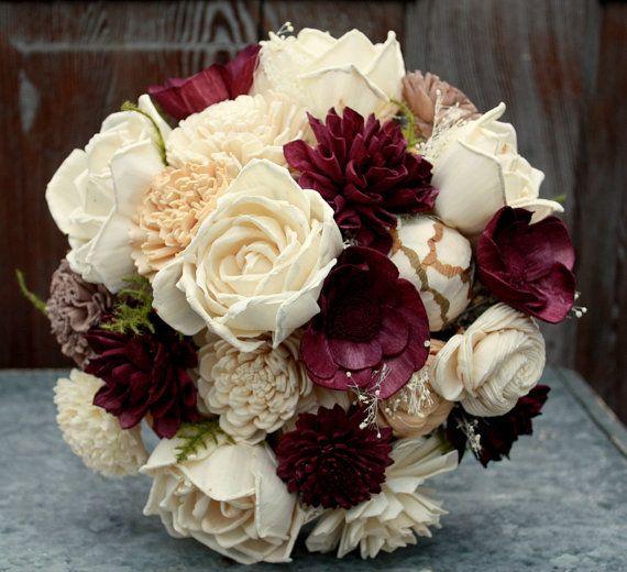 Sola flower bouquet, eggplant sola wood flower brides bouquet, plum wedding bouquet, eco flowers, deep purple bridal bouquet, wooden flowers