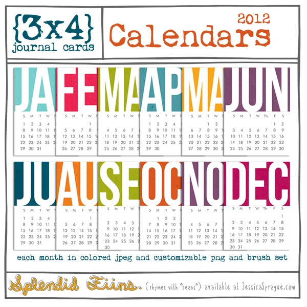 cards feature all twelve months with the 2012 calendar- each in one colorful jpg and one customizable png file to color as you like- and bonus brush set!