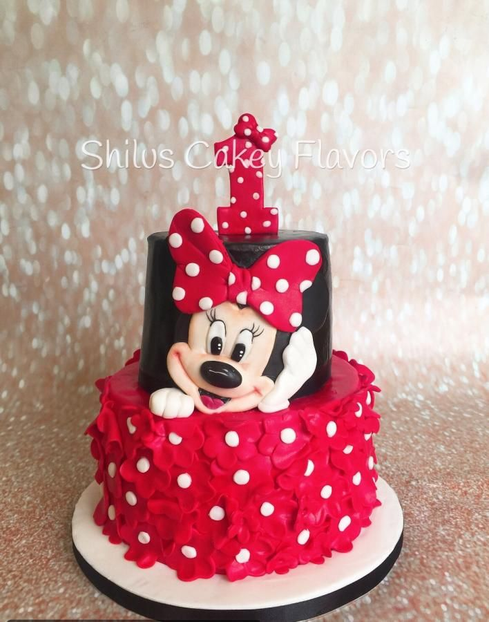 Minnie Mouse Cake By Shilus Cakey Flavors Minnie Mouse Birthday Cakes Birthday Cakes Girls Kids Minnie Mouse Cake