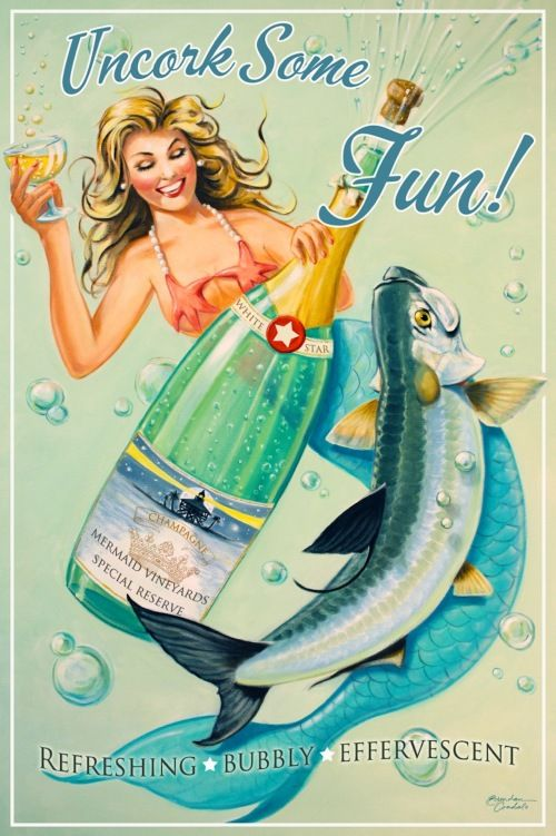BUBBLY MERMAID by artist Brendan Coudal.  Retro wood signs.  Coastal decor.  Beach decor.  Old Florida postcard.  Mermaids.  Tarpon.  Boca Grande.  Champagne.  Text on wood signs can be personalized.