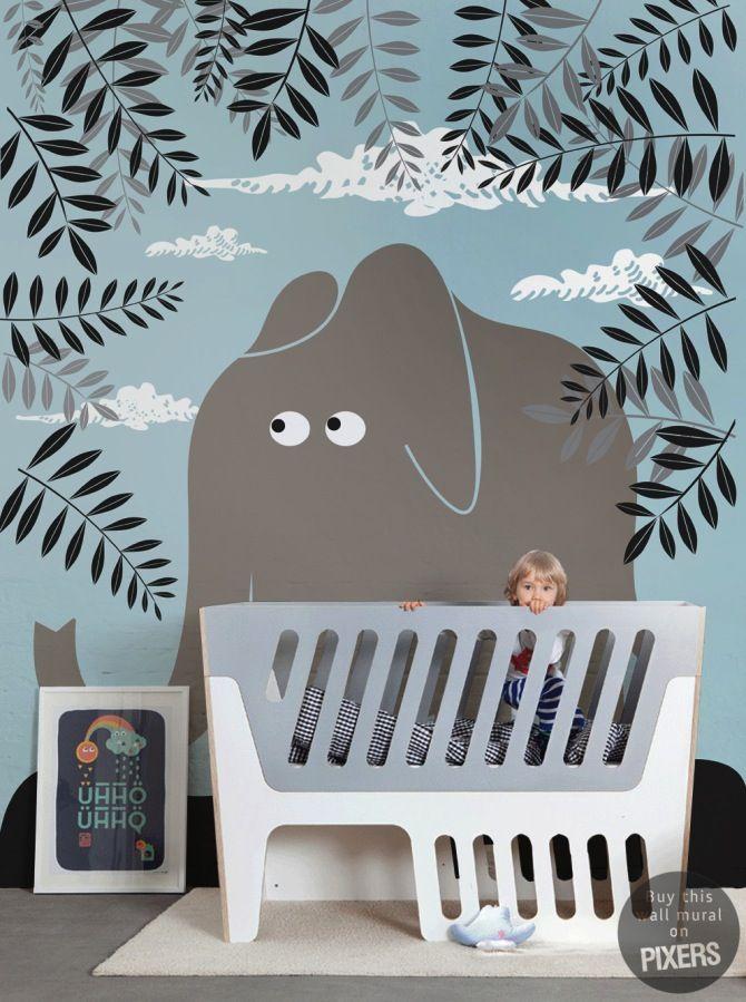 Deco chambre bebe papier peint enfant elephant le blog d co de mlc kids pinterest blog - Bebe deco slaapkamer ...