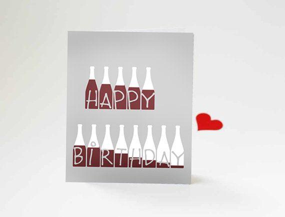 Glücklich Geburtstag lustige Grußkarte 3, 5 x 4, 5 cm Motivations Moderne Typografie natürliche rustikal rot Tau