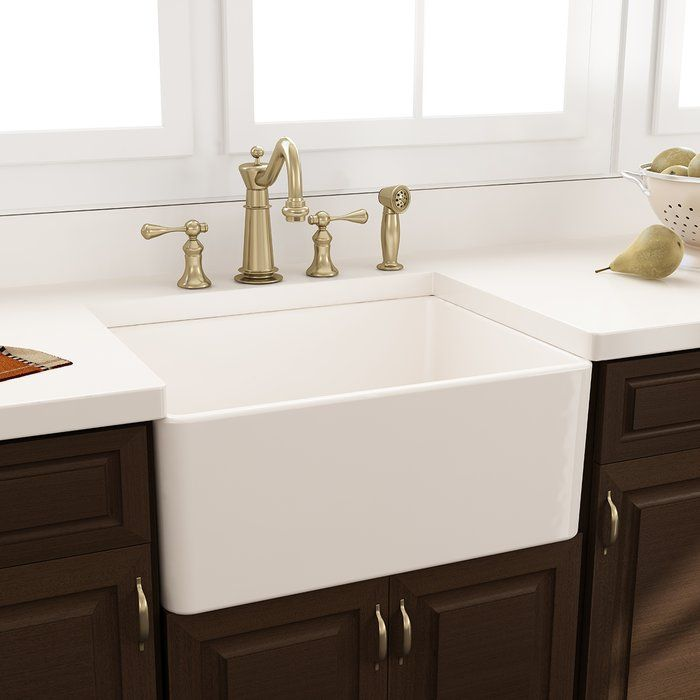 Features:  -Garbage disposal to it will the drain work: Yes.  Installation Type: -Farmhouse/Apron.  Finish: -White.  Material: -Fireclay.  Number of Basins: -1.  Sink Shape: -Rectangular.  Number of F