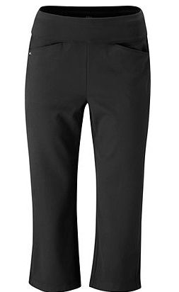 Draw this as a ladies pull on ankle pant and short.  (The image is a capri and too short.) Add silver tehama logo grommets at bottom of the slash pockets.