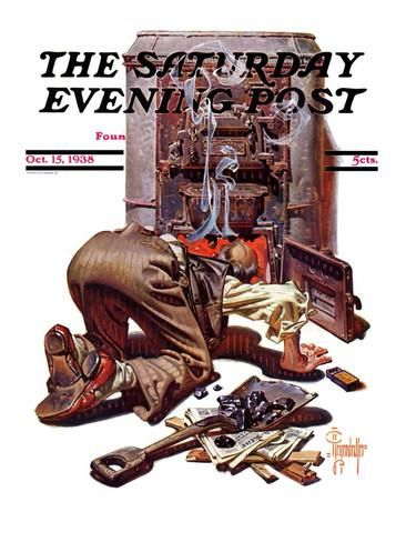 """""""Stoking the Furnace,"""" Saturday Evening Post Cover, October 15, 1938 Giclee Print by Joseph Christian Leyendecker at AllPosters.com"""