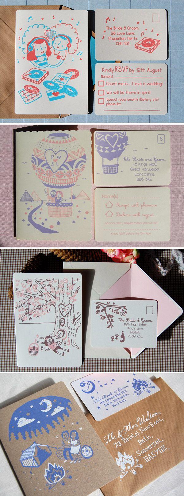 screen printed wedding invites - good alternative to letter press