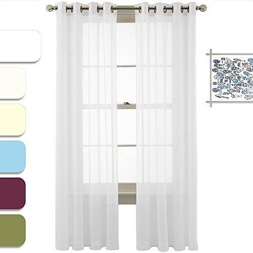 Nicetown Light Filtering Sheer Window Curtain Panels With Grommet Top (2-Pack 54 Wide x 63 inch Long White)