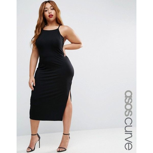 ASOS CURVE High Neck Strappy Midi Bodycon ($24) ❤ liked on Polyvore featuring dresses, black, plus size, body con dress, high neck bodycon dress, plus size body con dresses, tall dresses and calf length dresses