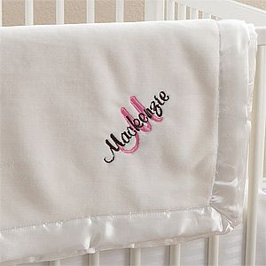 All About Me! Embroidered Baby Blanket For Girls- Ivory