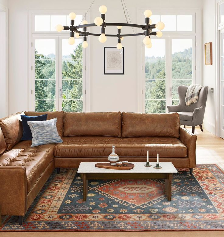 Tufted Leather Sectional Sofas Furniture In 2020 Living Room Leather Leather Couches Living Room Couches Living Room