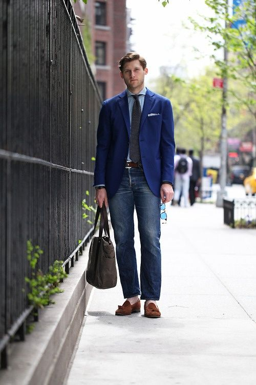 Men's Navy Blazer, Light Blue Dress Shirt, Navy Jeans ...