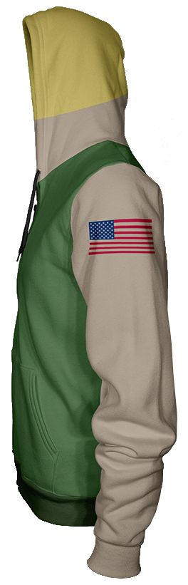 Feel like the hero of freedom with this Official Street Fighter Guile Hoodie. It's A-OK for USA with this badass Capcom character apparel, which features Guile's iconic colour palette and design features like his Stars and Stripes tattoo, blonde hair, and khaki vest.