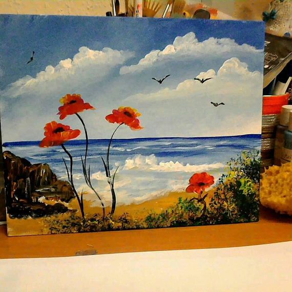 Red Poppies Dancing In The Wind, Surreal Poppy Painting, Poppies By The Sea, Seascape, Decor, Ladydarinefinecrafts.Etsy.Com, United Kingdom