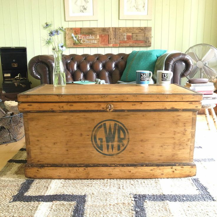 Vintage Stripped Pine Industrial Factory Gwr Railway Chest Trunk Coffee Table Vw Vintage The