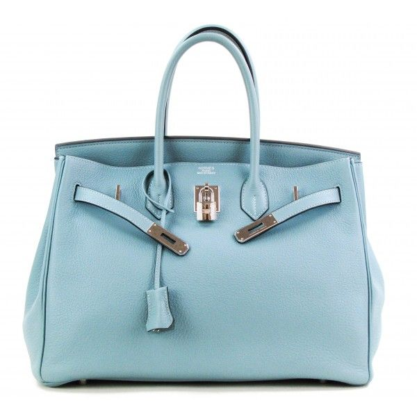 Hermes Ciel Blue Taurillon Clemence 35cm Birkin Bag with Palladium Hardware