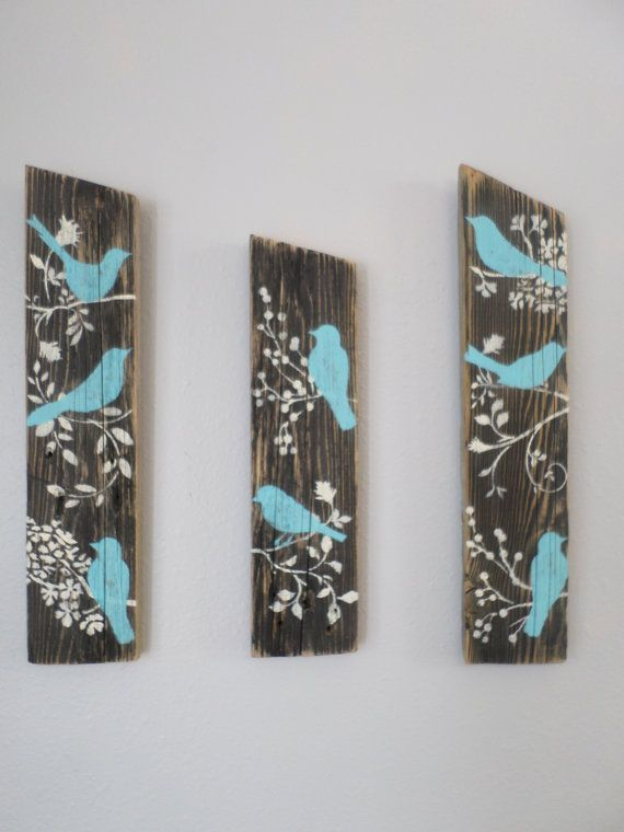 3 relaimed upcycled country custom order blue birds rustic for Shabby chic wall art