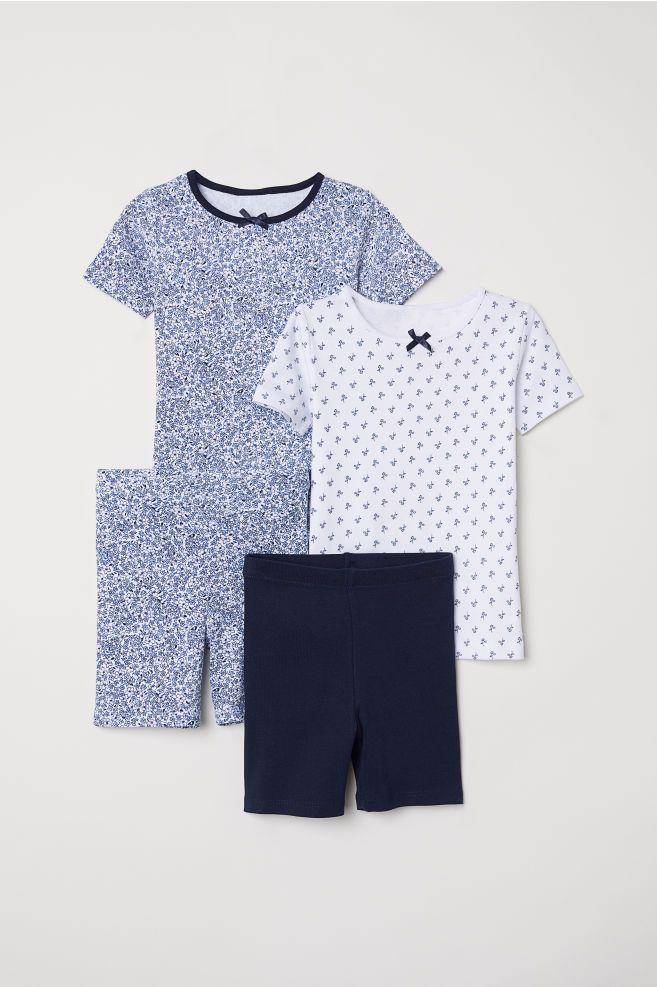 daaa11394 2-pack Jersey Pajamas - White blue floral - Kids