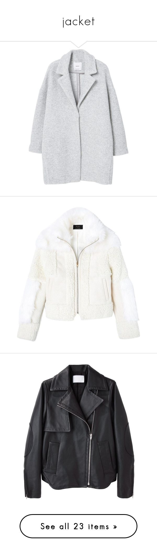 """jacket"" by andjelb ❤ liked on Polyvore featuring outerwear, coats, jackets, coats & jackets, mango coats, woolen coat, lapel coat, wool coat, long sleeve coat and white coat"