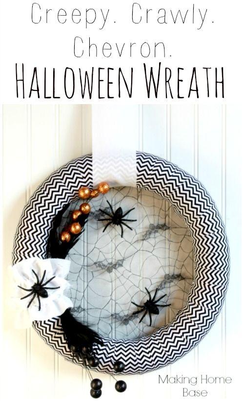 Chevron Fabric Wrapped Halloween Wreath. SO easy! #lovethis #spooky #halloween