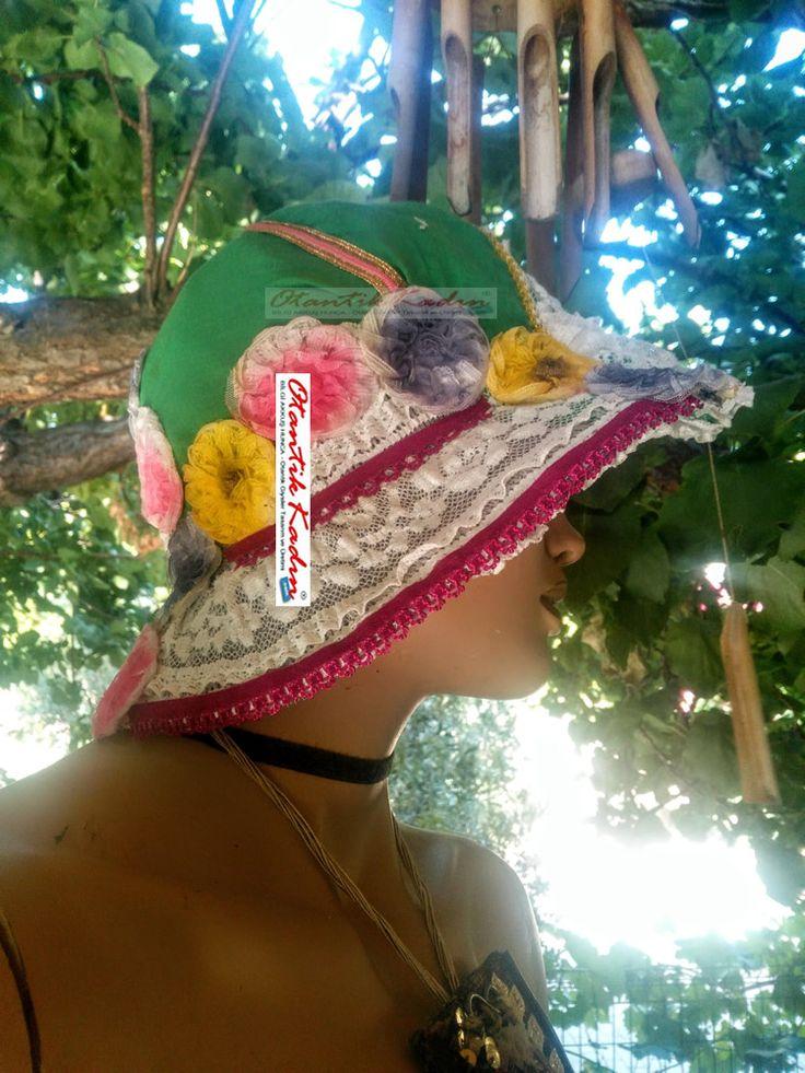 Otantik Dantelli - Çiçekli Şapka - 270717 | Otantik Kadın, Otantik handmade hat  handmade, HER HAKKI SAKLIDIR. İZİNSİZ OLARAK KOPYALANAMZ VE HİÇ BİR ŞEKİLDE KULLANILAMAZ