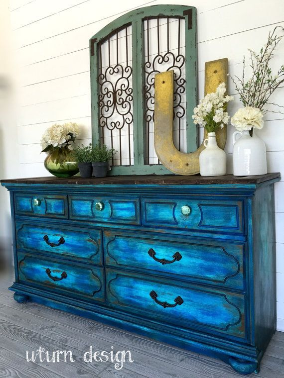 sold colbalt blue painted dresser buffet tv stand von uturndesign - Painted Dressers