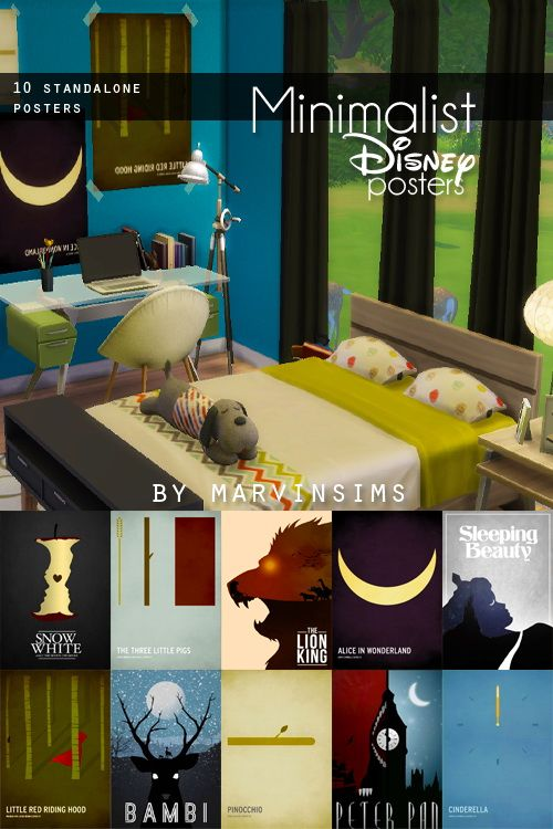 Minimalist Posters at Marvin Sims via Sims 4 Updates