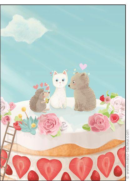 💘 Souhaitez une joyeuse St Valentin avec une jolie carte ❤️  http://www.merci-facteur.com/cartes/rub19-amour-et-saint-valentin.html #carte #amour #StValentin #Love #fleurs #Jetaime #lundi #coeur #jetaime #iloveyou #valentinsday #flowers #amor #SanValentin Carte Amoureux avec un g�teau aux fraises pour envoyer par La Poste, sur Merci-Facteur !