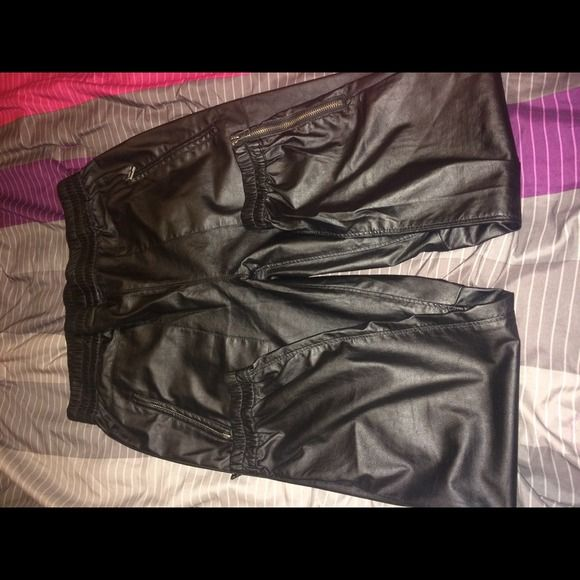 Leather jogging pant Only  wore once for my birthday.. Still in good condition Pants