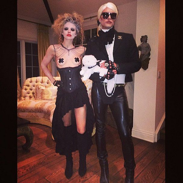 """The actress and her stylist friend went as """"the Creepy Chick"""" and Karl Lagerfeld."""