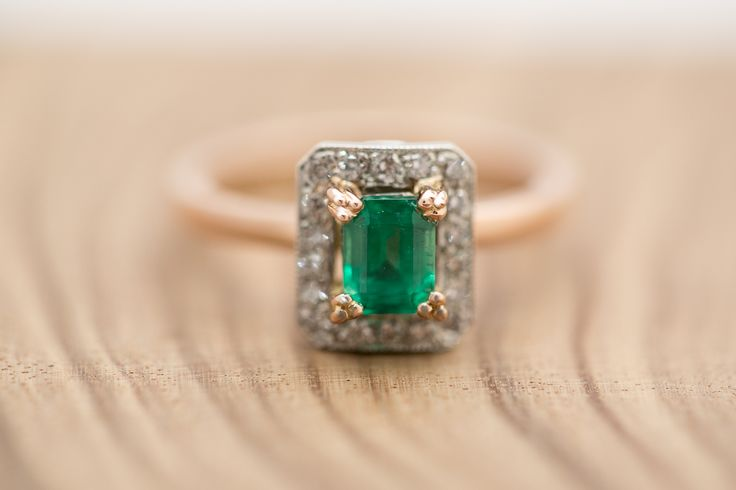 Emerald, rose gold and platinum engagement ring. What a beauty. Designed and made in store by our master jeweller, Terry Cockrem. We particularly love the three pronged claws holding the Emerald in place, a beautiful design feature. #emerald #melbournedesigner #goldsmith #terrycockrem #roseandcrownjewellers