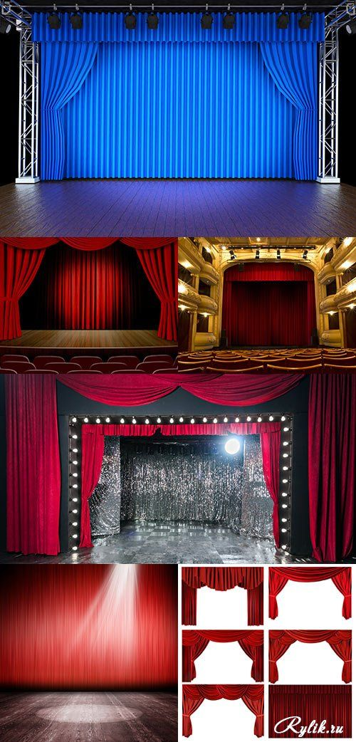 Театральная сцена, занавес, кулисы растровый клипарт. Theater stage and curtains