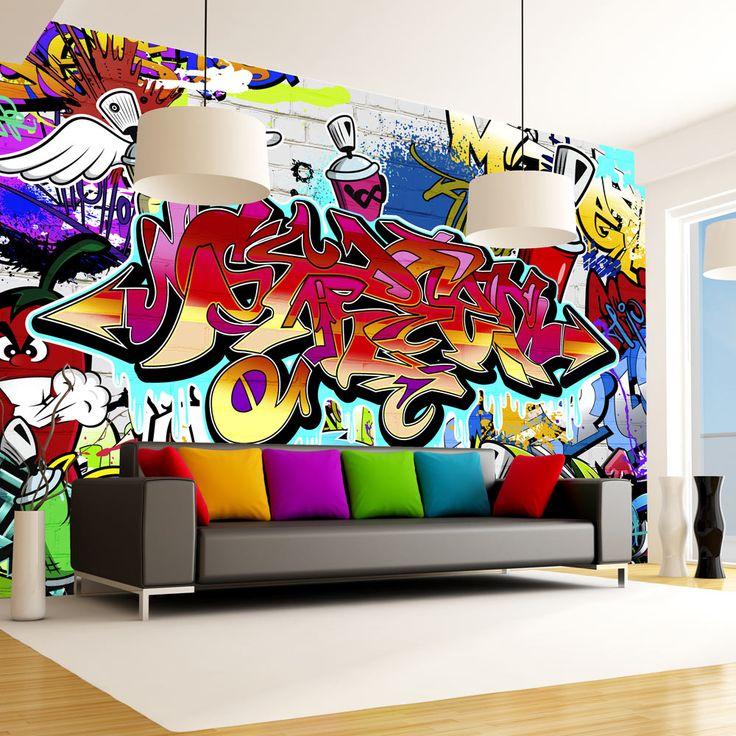 Nowoczesna tapeta #art #graffiti #graf #hiphop #street #streetart #dekor #dekoracja