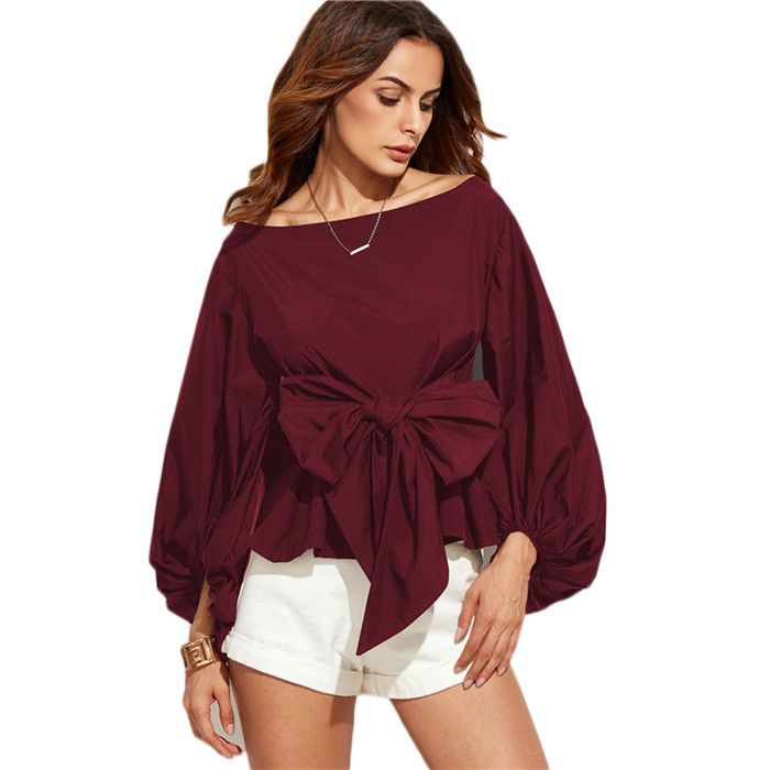 COLROVIE Women Shirts Women Tops and Blouses New Fashion Long Sleeve Blouse Boat Neck Lantern Sleeve Bowknot Blouse