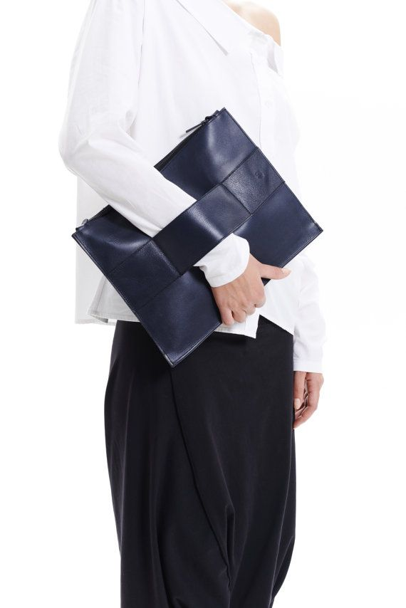 Minimalist Leather Clutch Deep Blue / Premium Leather by AryaSense, $139.00