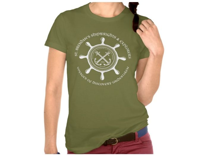 Saint Brendan's Shipwrights, Style is Women's American Apparel Fine Jersey Short Sleeve T-Shirt, color is Olive