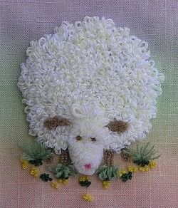 Needle Punch Embroidery Sheep on colored background