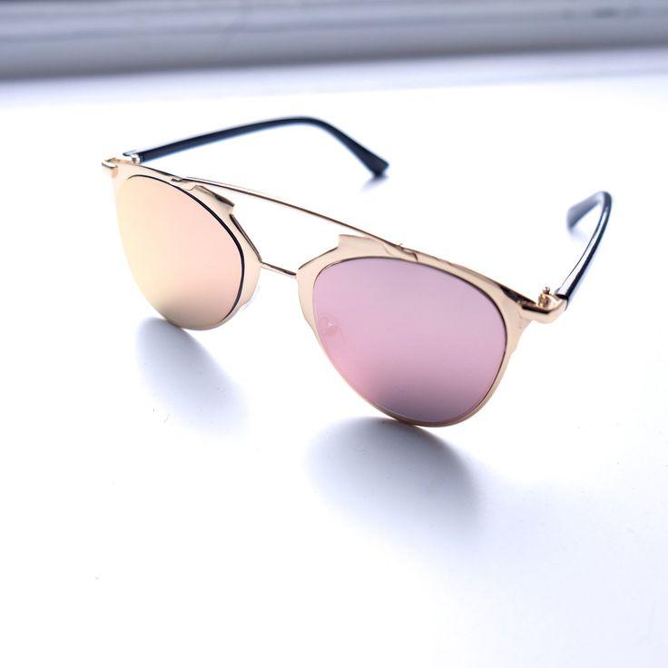 TOMS Luisa Champagne Cristal Et Roses Effet Miroir Sunglasses with Rose Mirror Lens FYeCKIRJE