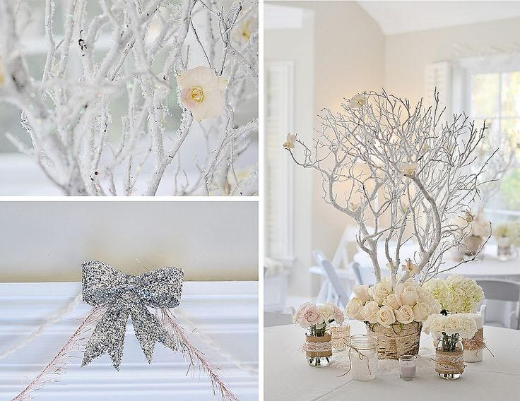 """""""I found an online tutorial about setting the Manzanita branches in Plaster of Paris,"""" Emily said. """"I followed the steps and was very pleased with the end result! I glued dried flowers onto the branches to complete the"""