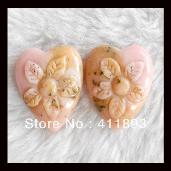 Резные розовый опал цветок пар, 27 x 22 x 7 мм, 12.10 г, В качестве подарка для кого-то. Может сделать в различной формы, Разного размера