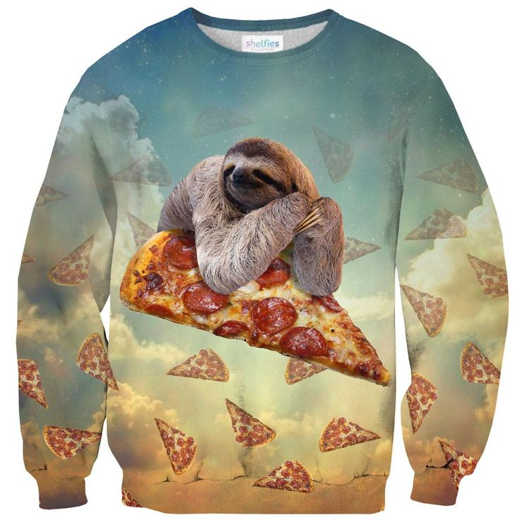 Sweatshirts - Sloth Pizza Sweater