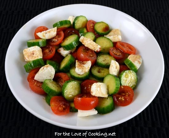 Cucumber, Tomato, Mozzarella Salad with Balsamic - For the love of cooking