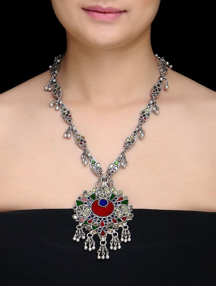 Buy Red Green Silver Classic Glass Necklace Thread Jewelry Necklaces/Pendants Shringar and necklaces earrings nose pins more Online at Jaypore.com