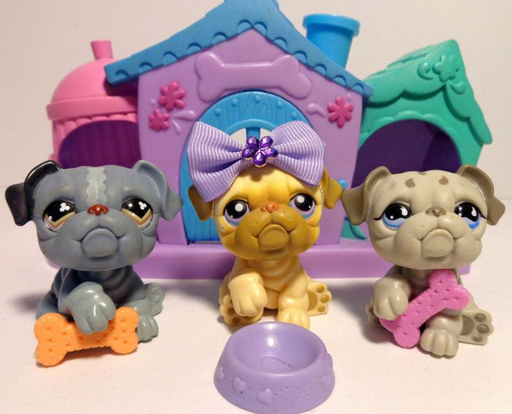 Littlest Pet Shop Lps Lot 3 Rare Bull Dogs With Dog House Accessories Hasbro